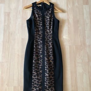 MICHAEL KORS black slim animal print sheath dress